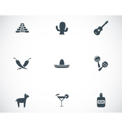 Black mexico icons set vector