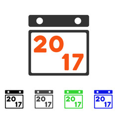 2017 calendar page flat icon vector