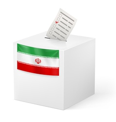 Ballot box with voting paper iran vector