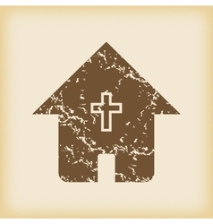 Grungy christian house icon vector