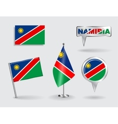 Set of namibian pin icon and map pointer flags vector