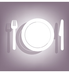 Fork plate and knife icon vector
