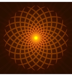 Geometric orange glow mandala vector