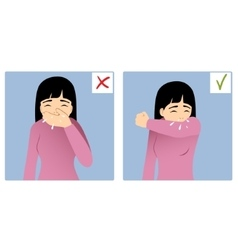 Two images with girl sneezing in hand and elbow vector