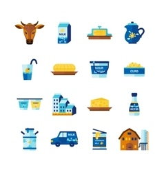 Milk dairy products flat icons set vector