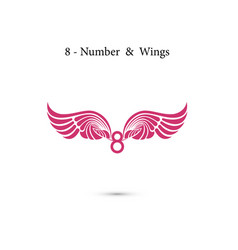 8-number sign amp angel wingselegant alphabet vector