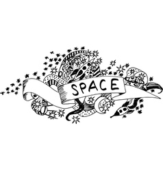 Black and white space doodle vector