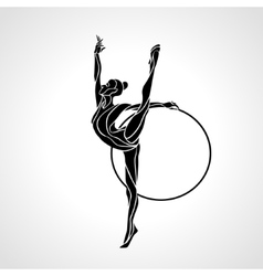 Rhythmic gymnastics with hoop silhouette on white vector