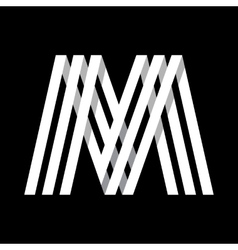 Capital letter m made of three white stripes vector