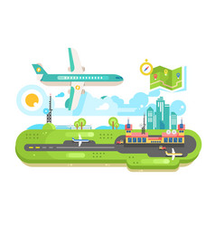 Airport building infrastructure with plane vector