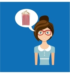 Beautiful girl concept cinema movie pop corn icon vector