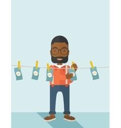 Black buisnessman hang his money vector