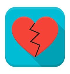 Broken heart app icon with long shadow vector