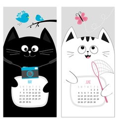 Cat calendar 2017 Cute funny cartoon character set vector image