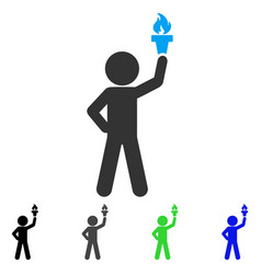 Child with freedom torch flat icon vector