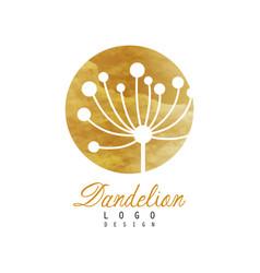 Dandelion logo design template gentle golden vector