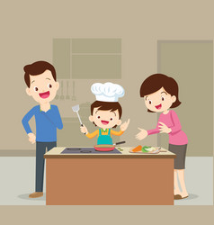 family and son cooking vector image vector image