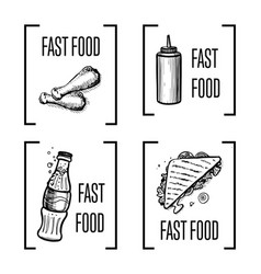 Fast food hand drawn symbol set vector
