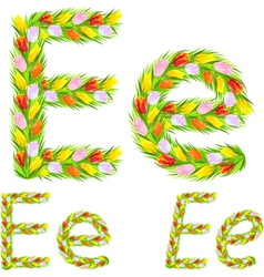 font type letter E made from flower tulip vector image
