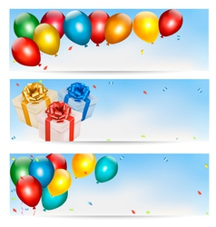 Holiday banners with colorful balloons and gift vector image vector image