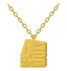 Independence Day america gold necklace jewelry on vector image