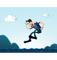 Jumping to the sea vector