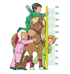Meter wall with children and a pony vector