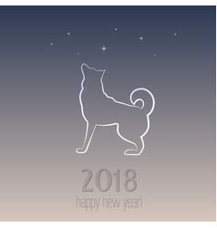 New year card with a dog - symbol of 2018 vector