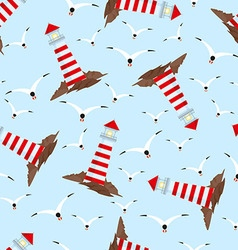 Pattern with lighthouses and seagulls vector