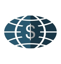 Planet with money symbol vector