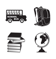 school isolated element icons set vector image
