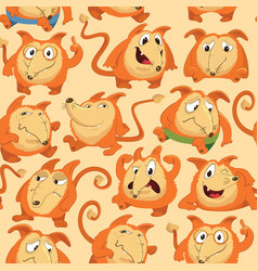 seamless pattern with funny fox expressing various vector image
