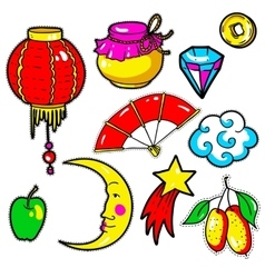 Set of chinese new year stickers pins patches in vector
