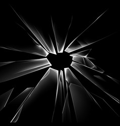 Shattered crack glass window and bullet holes vector