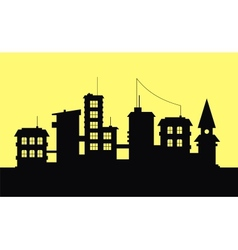 Silhouette of city on yellow background vector