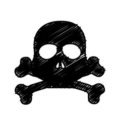 Skull danger alert icon vector