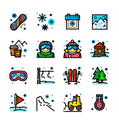 snowboarding icons set vector image vector image