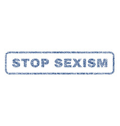 stop sexism textile stamp vector image