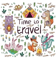 Time to travel Children card in cartoon style vector image vector image