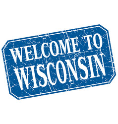 Welcome to wisconsin blue square grunge stamp vector