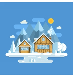 Winter Village Landscape vector image vector image