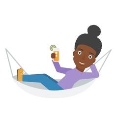 Woman lying in a hammock vector