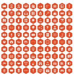 100 camera icons hexagon orange vector