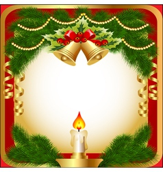 New years background with a candle berries and vector