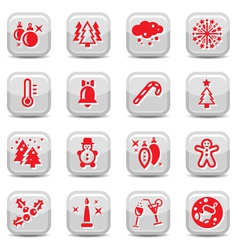 winter and cristmas icon set vector image