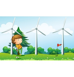 A girl playing golf near the windmills vector