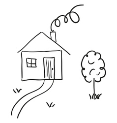 Hand drawn house in a sketch cartoon style vector