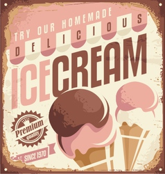 Retro ice cream tin sign design concept vector