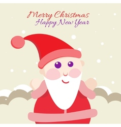 Santa Claus with Merry Christmas Label for Holiday vector image