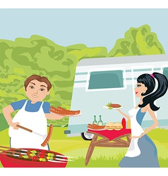 Couple outdoor grilling meat vector